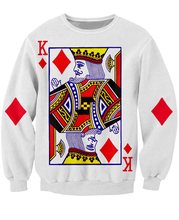 King of Diamonds Crewneck Sweatshirt the playing card vibrant jumper Women Men Sweats Hoodies Tops Fashion Clothing Plus Size(China (Mainland))