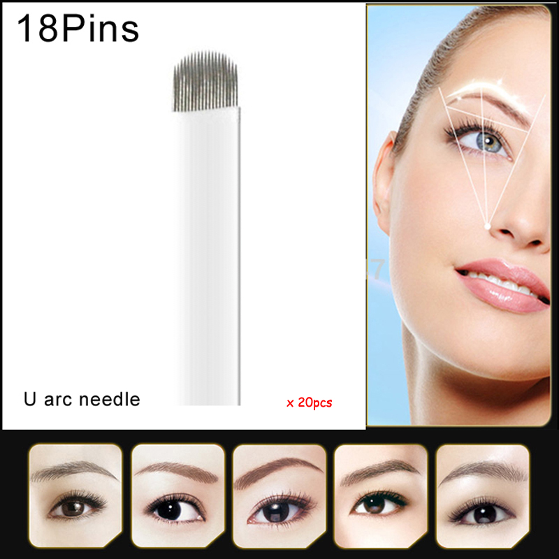 Гаджет  U shape needle blade permanent makeup blades needles for manual pen 18pins microblading circular arc needle blade None Красота и здоровье