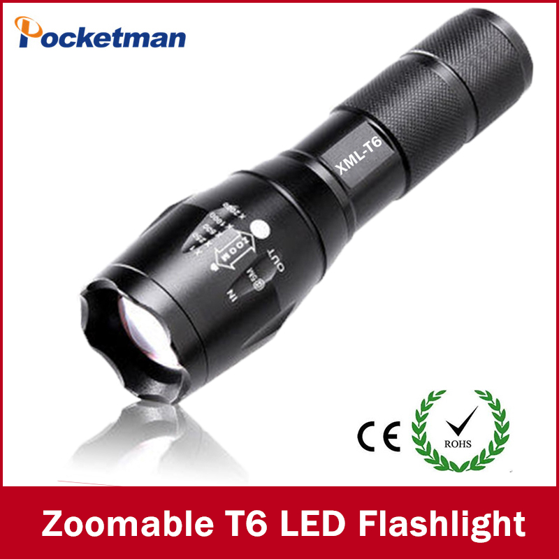 E17 CREE XM-L T6 3800Lumens cree led Torch Zoomable cree LED Flashlight Torch light For 3xAAA or 1x18650 Free shipping