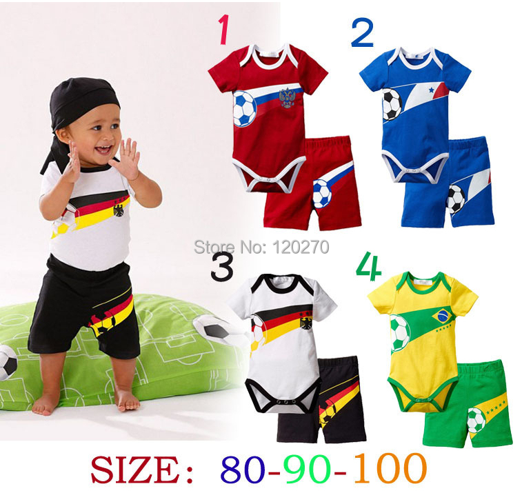 Free Shipping Summer Baby Boys Football Romper + Shorts Pants 2 Piece Set Infant Toddler Sport Set Children's Outfits Tracksuits(China (Mainland))