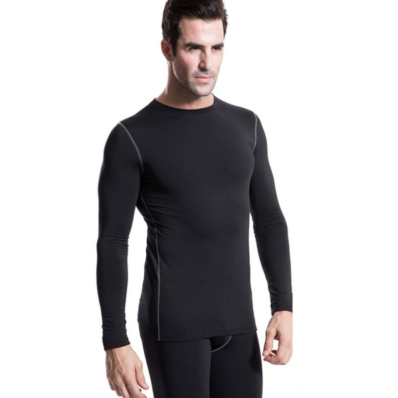 Men Plush Base Layer Long Sleeve Slim Fit Thermal Underwear Tops Winter Undershirt