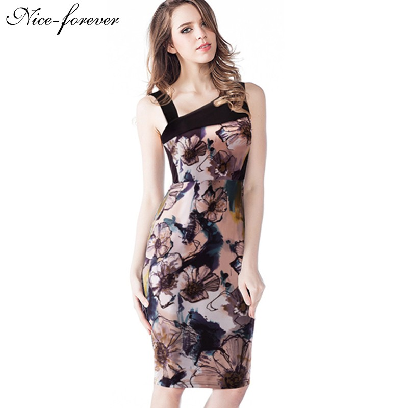 Nice-forever Summer New Style Asymmetrical Neck floral Print Patchwork Bodycon Vintage Dress Sheath Casual pencil Dress B285(China (Mainland))