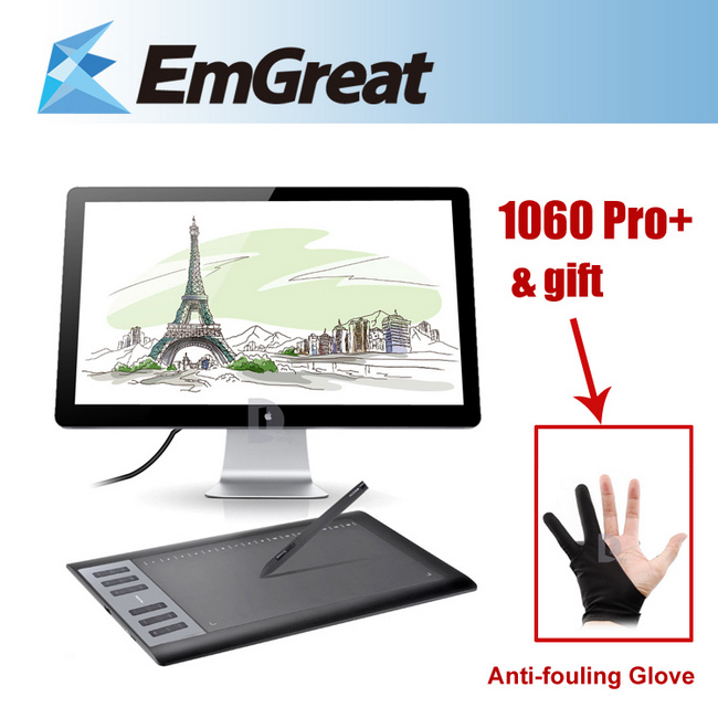 New HUION 1060 Pro+ Digital Graphic Tablets Drawing Tablet Board Pad Panel With Pen USB + Anti-fouling Glove as Gift P0017872(China (Mainland))