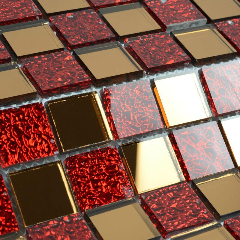 Mirror tile backsplash kitchen red glass mosaic tile clear - Mirror mosaic tile backsplash ...