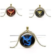 2016 Trendy Anime Pokeball Valor Mystic Instinct Vintage Jewelry Glass Metal Pendant Necklace Keychain Cosplay Gift L734
