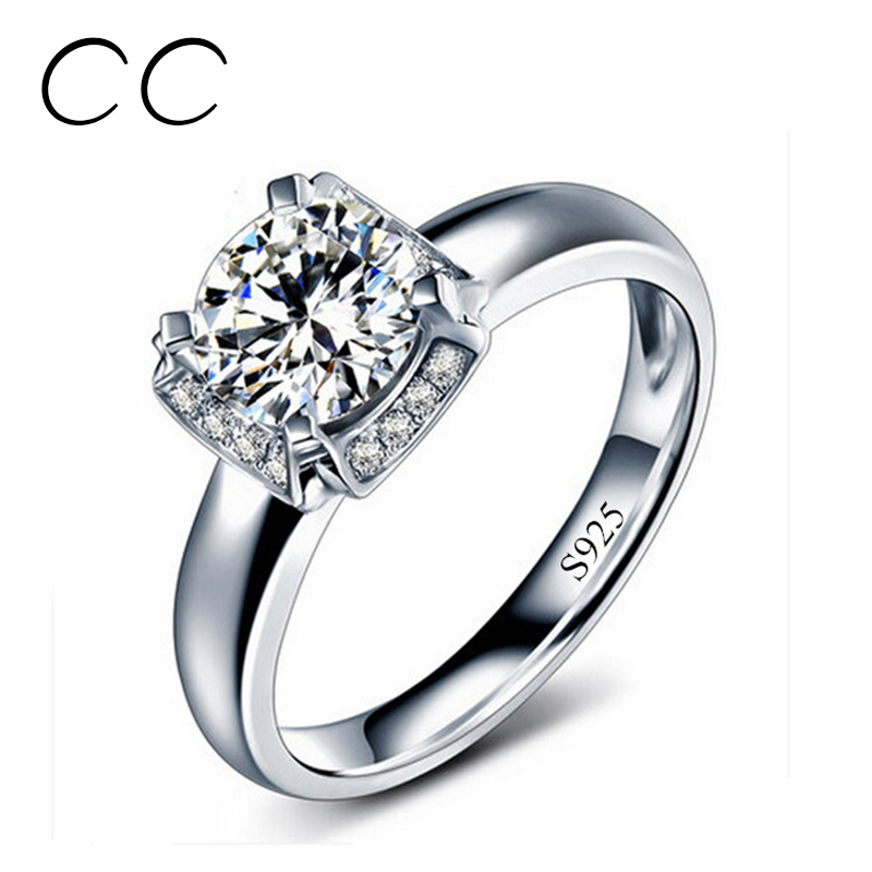 Fashion jewelry white gold plated square ring bague mariage wedding rings for women 2016 vintage jewellery anel Bijoux CC092(China (Mainland))