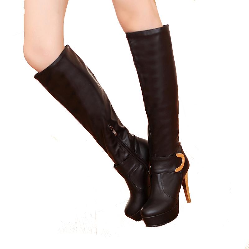 fashion soft pu leather winter knee high boots
