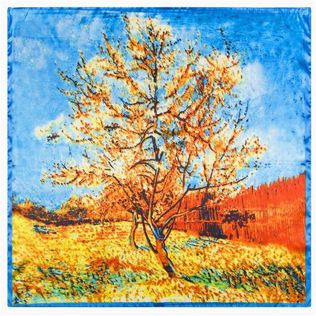 60 см * 60 см кленовые листья пейзажной живописи классической живописи стиль имитация женщины малый косынка оптовая продажа