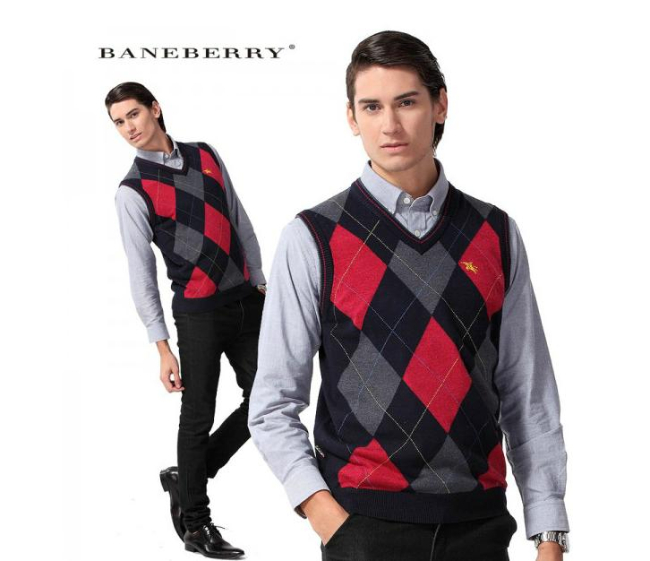 2016 Mens' New Brand BANEBERRY Pullover Sweater Vest V-Neck Cotton Knitted Business Fashion Slim Solid Male cashmere vest(China (Mainland))