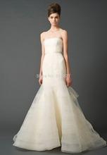 Stunning Wedding Dress Unique Design Strapless Pleat Tulle Bridal Gown Sashes Off Shoulder Long Train Vestidos De Novia Zipper(China (Mainland))