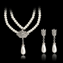 Simulated Pearl Wedding Bridal 2-Piece Jewelry Set Classic Clear High Quality Crystal Charm Gift Silver Plated White Pearls Set(China (Mainland))