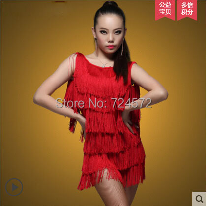 Latin dance costume sexy ick silk tassel Sleeveless latin dance dress for women latin dance competition dress 2kinds of colors(China (Mainland))