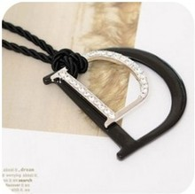 2014 New Arrival Double D Letter Pendant Necklace Full Fine Sweater Chain XY-N193(China (Mainland))