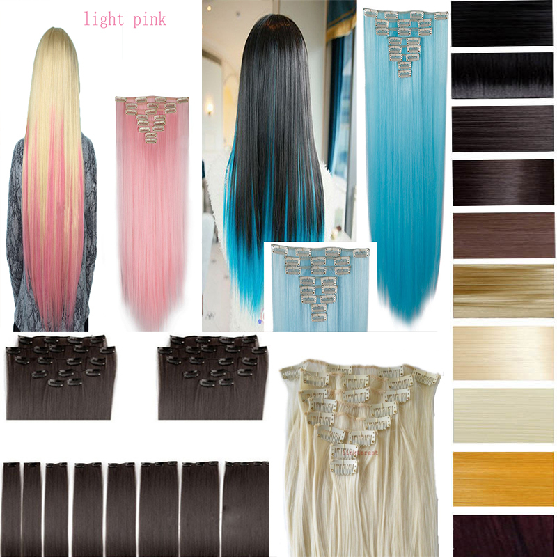 "26"" (66cm) 170g Straight 8pcs/set Full Head Clip in Hair extensions Color Hair Blue Purple Pink Blonde Brown Gray Synthetic Hair(China (Mainland))"