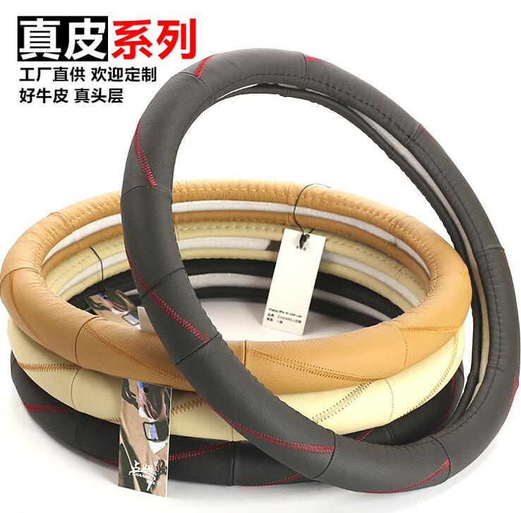 Newest Brand Zhanmu Universal Real First layer cowhide Leather Car Steering Wheel Cover Case 38cm Diameter F204 Free Shipping(China (Mainland))