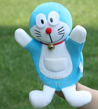 Story toy 1pc 26cm cartoon Doraemon hand puppets plush sleeping pacify educational game early education baby creative gift