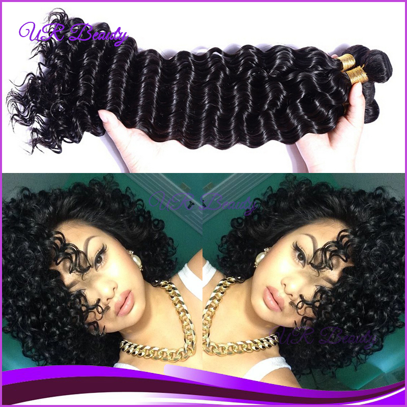 Cabelo Humano Loiro 3 Bundles Pervian Hair 6A Deep Curly Wave Hair Weaves Natural Black 100G/Pc Free Shipping