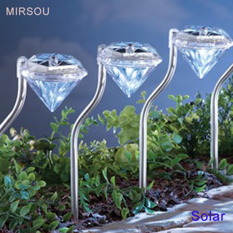 MIRSOU 4PCS Solar Lawn Light LED Bulbs RGB 12V Garden Lamp Patio Lamp LED Solar Lamp Diamond Yard Light Outdoor Light(China (Mainland))