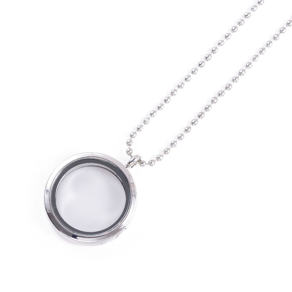 30mm 316L Stainless Steel Magnetic Glass Floating Charm Lockets Pendant Necklace For DIY Memory Locket necklace Imitation(China (Mainland))