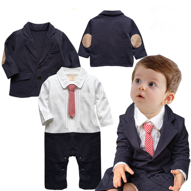 (wholesaler) 2016 gentleman baby rompers wih tie+ Patched coat baby boy clothing set(China (Mainland))