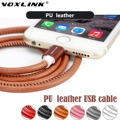 VOXLINK Leather 1M 2M 3M Gold Plug 8 pin usb cable Micro Charging Data Sync USB