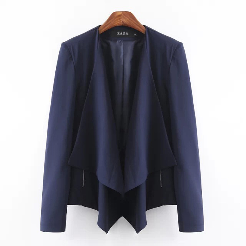 hot casual zippers Navy blue suit coat temperament suits blouses tops Women's clothing Blazer&Suits Blazers