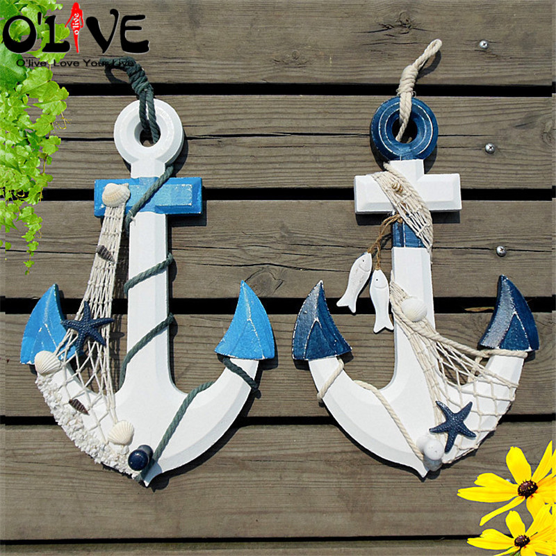 Wooden anchors decoration vintage home decor marine for Decoration style marin