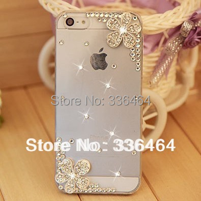 Wholesale Rhinestone Cherry Hard Back Cover Skin Case back cover For iPhone 5 5s iPhone 4 4s case,New Arrival mobile Phone Case(China (Mainland))