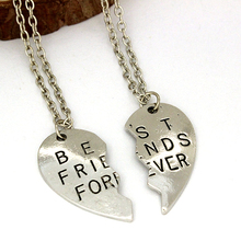 Wholesale Price Hot Sale New Fashion Broken Heart Two Parts Letter Best Friends Forever Pendant Necklaces Free Shipping(China (Mainland))