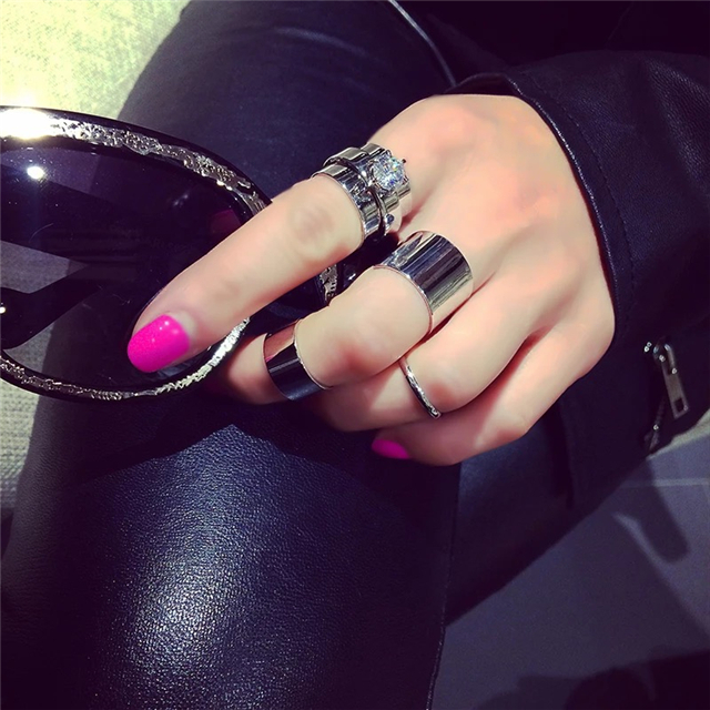 Hot New Fashion Rhinestone 4 PC Joints Combination Rings For Women Trendy Personality Punk Ring Free Shipping