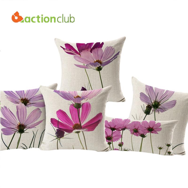 Actionclub Purple Flowers Cushions Home Decor Pillows New