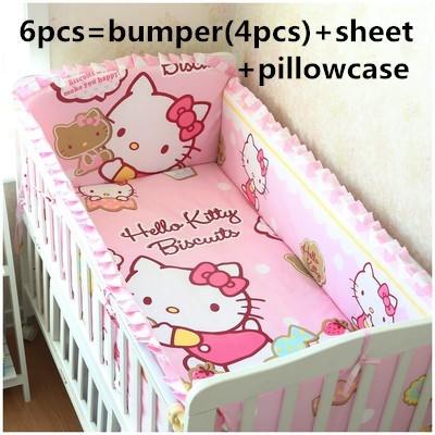 Продвижение! 6 шт. привет китти ребенка постельных принадлежностей для 100% хлопок мягкий детская кроватка постельных принадлежностей, включают ( бамперы + лист + )