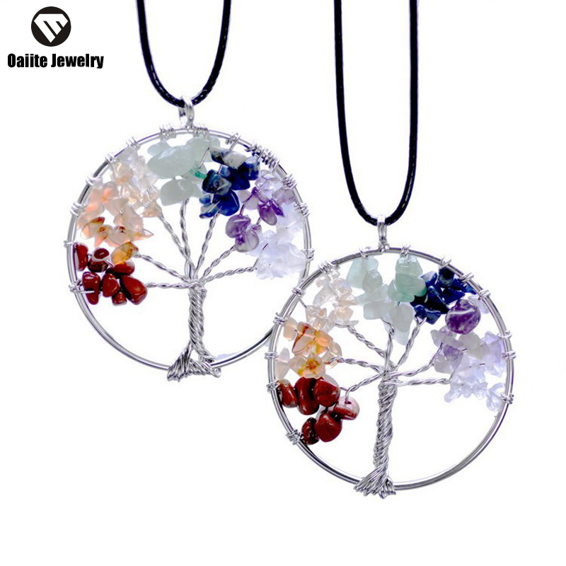OAIITE Tree Of Life Pendant Necklace Women Clothing Accessories Necklaces 7 Style Imitate Natural Stone Ctystal Fashion Jewelry(China (Mainland))