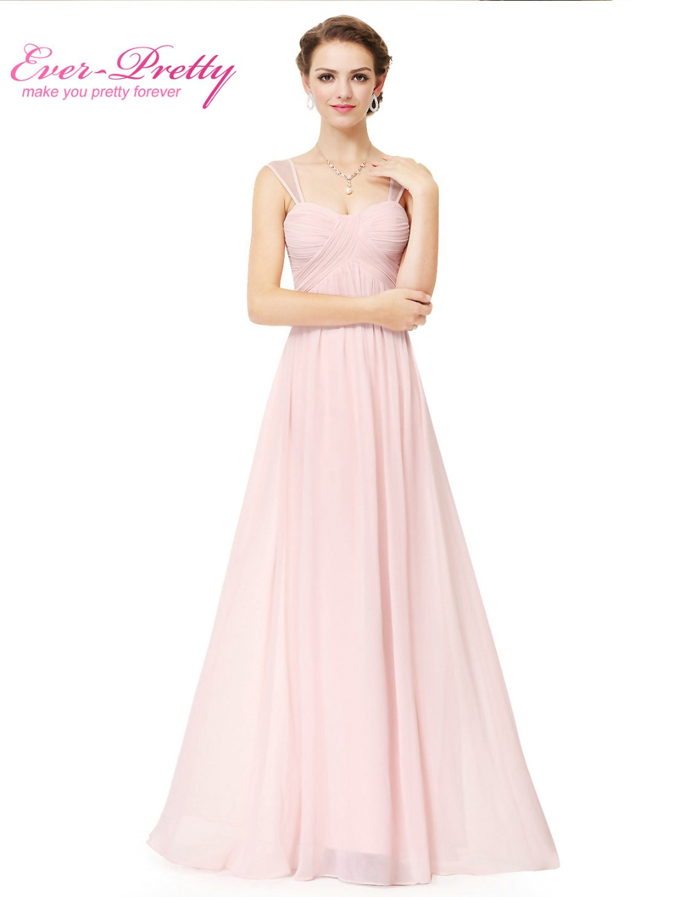 Pink bridesmaid dress long chiffon cheap ever pretty for Cheap chiffon wedding dresses