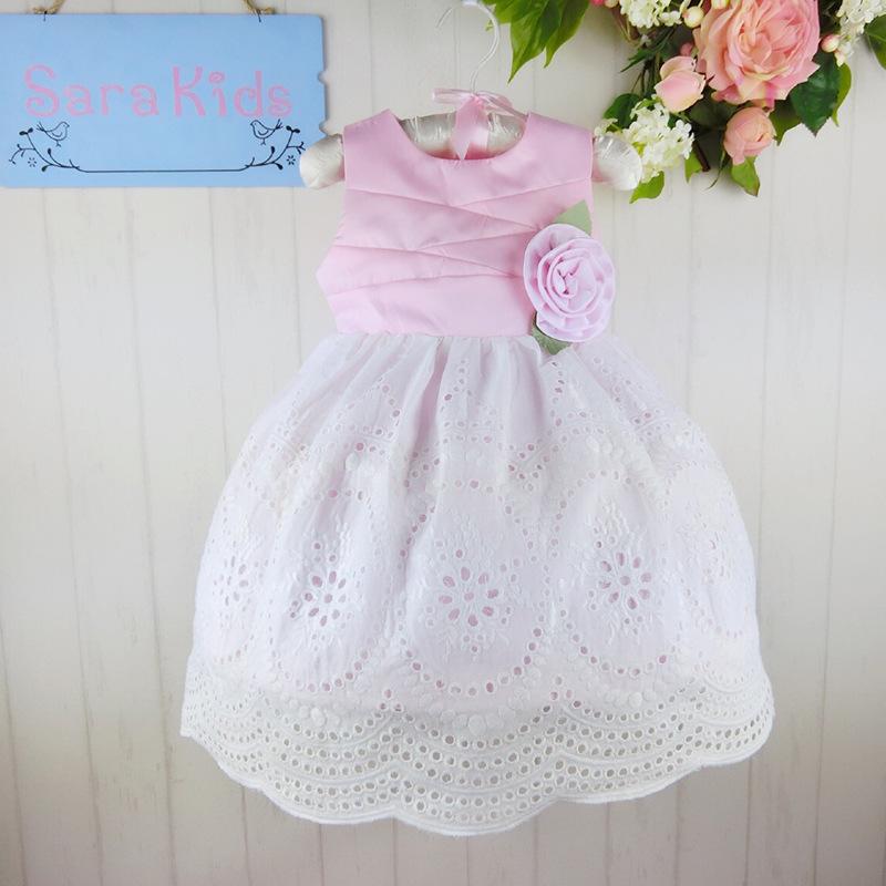 Wholesale simple design big flower in middle temperament princess party dress    Size:1-6  6pcs/1lot   0935<br><br>Aliexpress