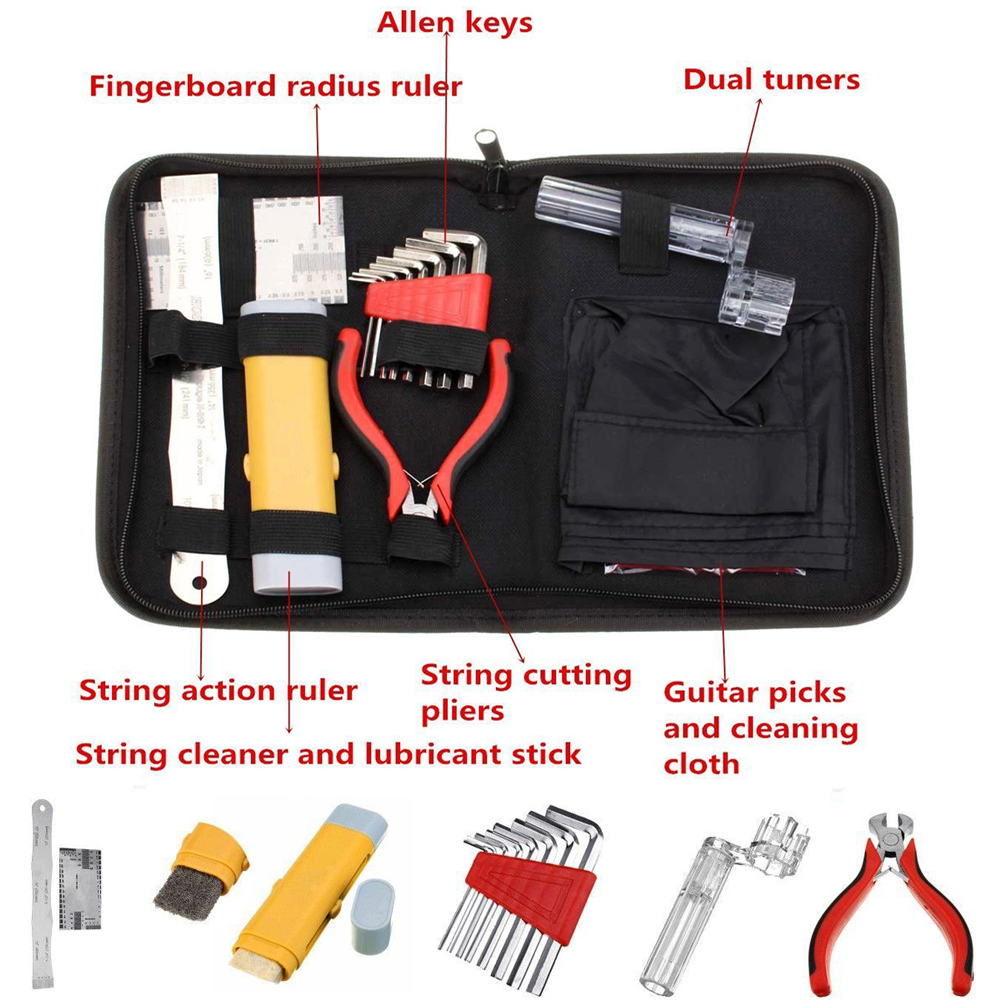Professional Guitar Care Tool Repair Maintenance Tech Kit Set for Acoustic Electric Bass Guitar Contains 8 Kinds of Tools(China (Mainland))