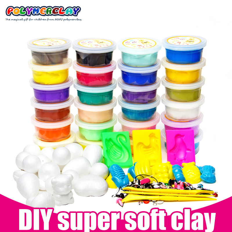 Free shipping 24pcs 24 boxes play doh DIY Malleable Fimo Polymer Modelling Soft Clay Blocks Plasticine Kimisohand Special Toys(China (Mainland))