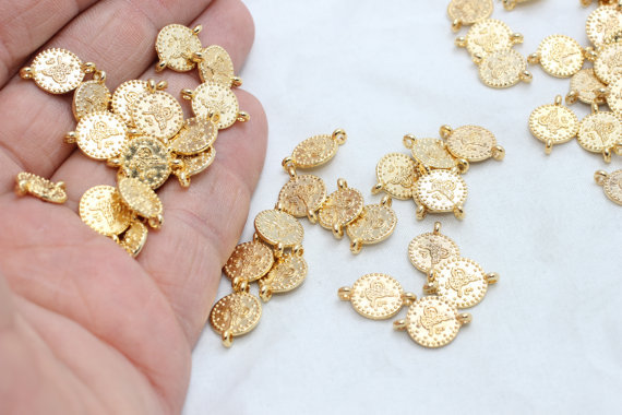 50 Pcs 24k 10mm Gold Plated Ottoman Signature Flat Coins ,Two Holes Connector, Bracelet Making, Round Flat Coins Findings,BRT103(China (Mainland))