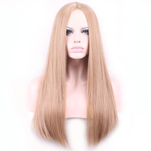 68cm Fashion Sexy Long Natural Straight Central Parting Full Wig Womens Wigs Girl Gift(China (Mainland))