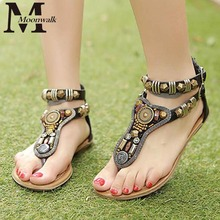 Summer style Vintage flip flops Bohemia fashion women flats shoes women Zipper gladiator sandals sandalias mujer 2016(China (Mainland))