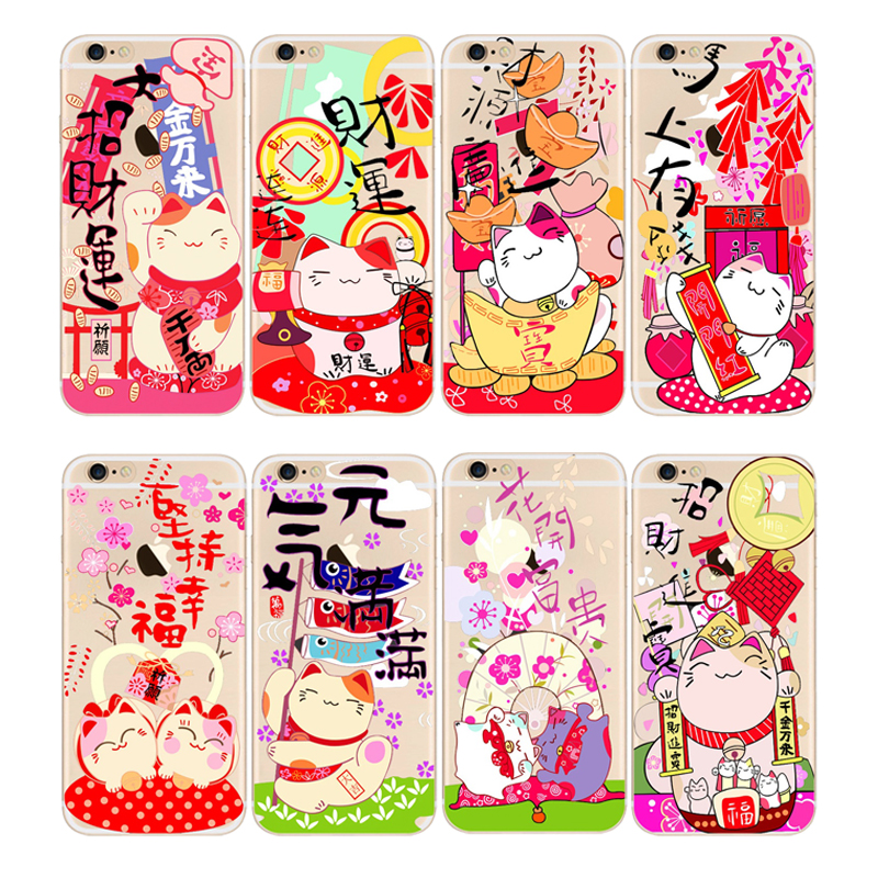 Ultra Thin Maneki Neko Cartoon Cute Lovely Lucky Cat Series Clear Case Cover for iPhone 6/6s 6 Plus/6s Plus 5/5s/SE(China (Mainland))