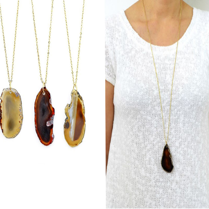 New arrival Women Stones Costume Jewelry Natural Brown Agate Pedant Necklace FREE SHIPPING(China (Mainland))