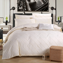 4-Pieces Pinch Pleated Solid Color Bed Set Luxury Bedding Sets Full Size Duvet Cover Bed Sheet Pillow Case Machine Washable(China (Mainland))