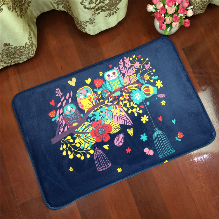 Shipping owl fashion bedroom carpet rectangular living room water bath mat anti-skid mat household vacuum cleaner(China (Mainland))