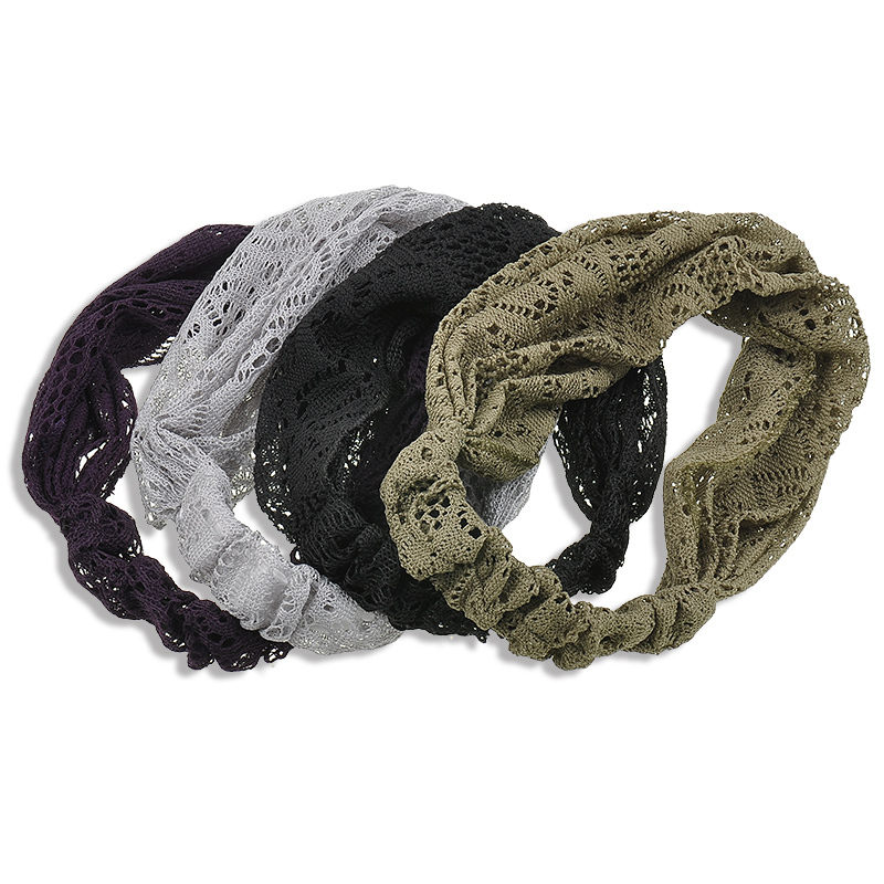 New Women Girl's Fashion 4 Color Lace Knot Headband Twist Turban Twist Headband Soft Hair Band Hair Accessories NA699(China (Mainland))