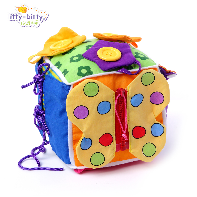 Free shipping baby soft educational activity cubic block toy teach and learn how to wear clothes feel and touch(China (Mainland))