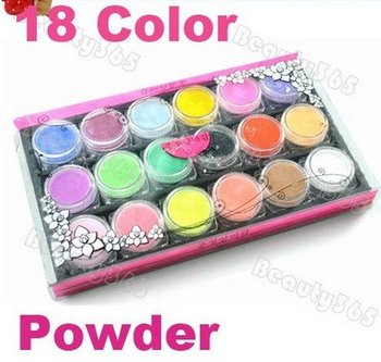 Korea star  Professional 18 PCS Color Acrylic Powder Dust For Nail Art Glitter Tips Makeup Set Free Shipping