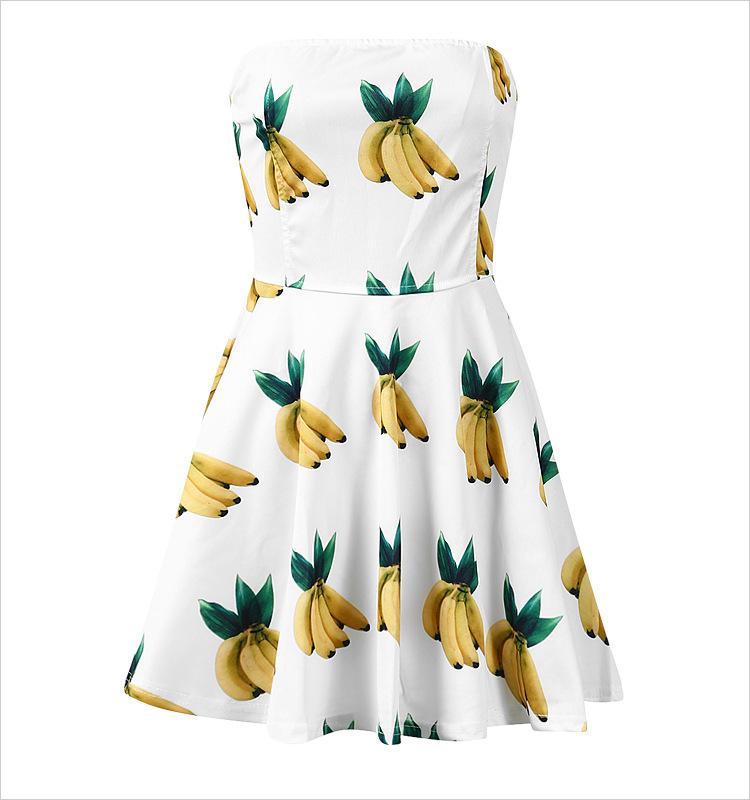 summer dress 2015 new fashion sexy sleeveless Strapless ropa mujer casual woman dress 3D banana print party dresses K(China (Mainland))