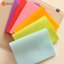 6 Colors of Candy Colors Women Men Passport Holder Leather Bags Passport Cover Silicone Documents Folder