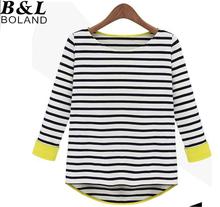 S-XXL Free Shipping Women's Plus size Striped cotton long sleeve T-shirt  #S5573